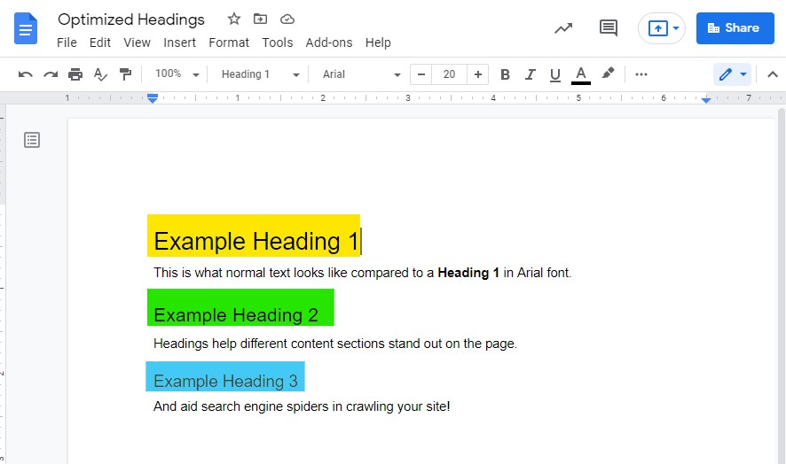 Headings are one of the top ways to optimize your page when doing SEO updates.
