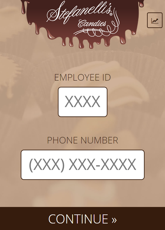User interface for the Stefanelli's Candies Rewards Program