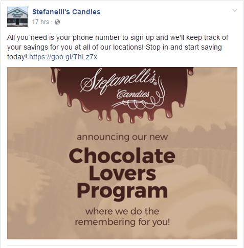 Rewards program announcement on Facebook