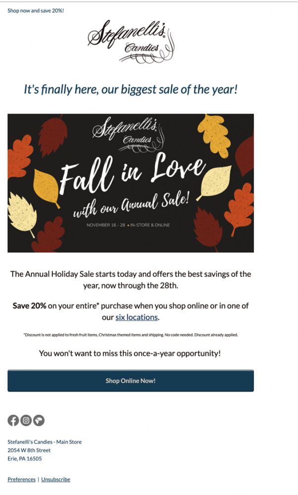 Annual Sale - Newsletter