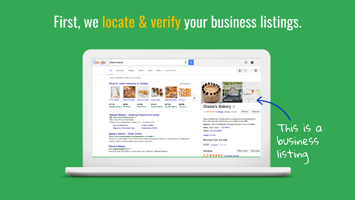 First we locate and verify your business listings.
