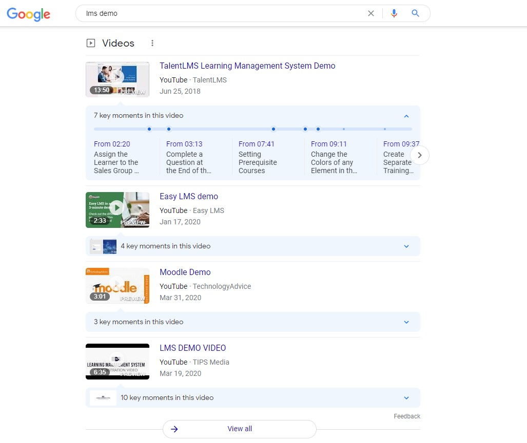 videos as search results visual example